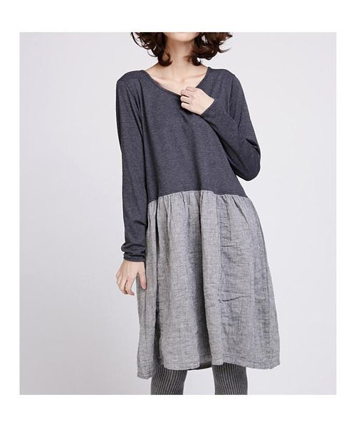 Knee-Length Dresses – Babydoll cute dress with long sleeve sleeves-grey – a unique product by buuki on DaWanda