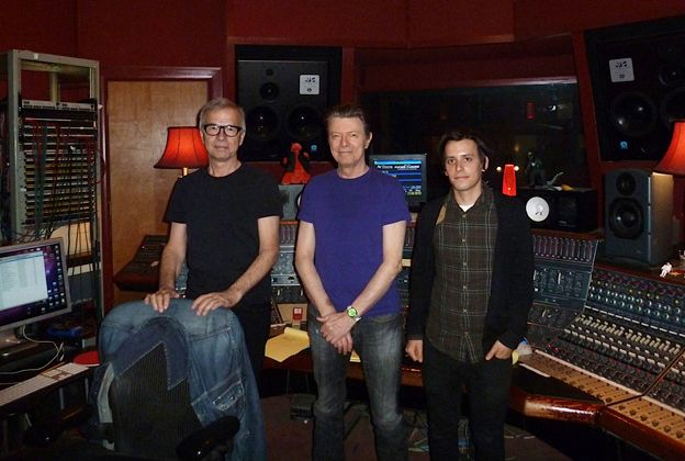 Tony Visconti, David Bowie and Brian Thorn at The Magic Shop Recording Studio, 'The Next Day'