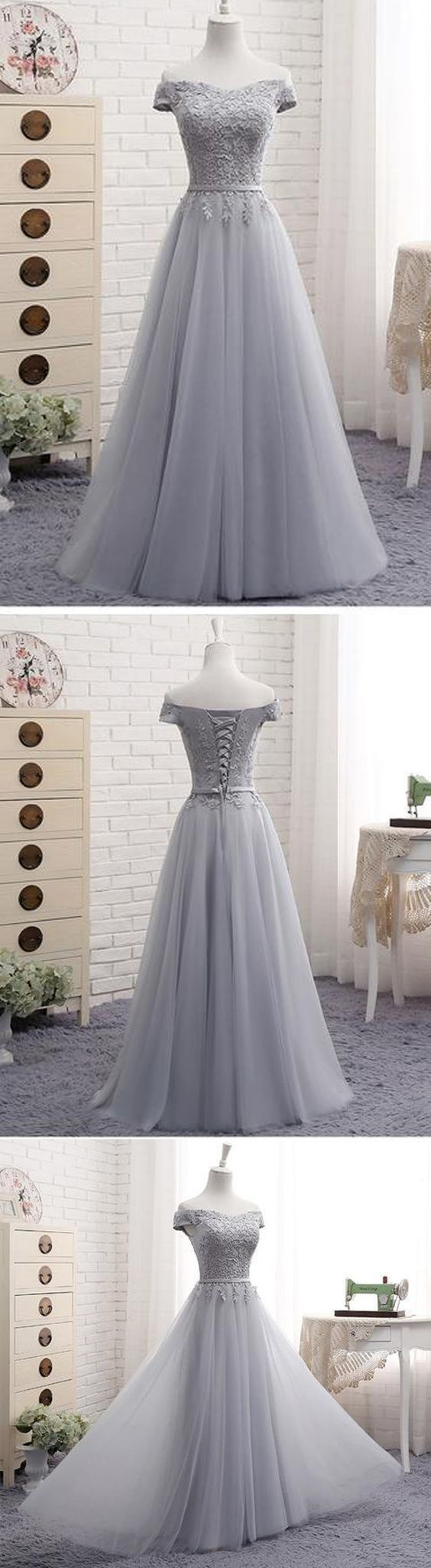 A-Line Gray Off the Shoulder Tulle Lace-up Sweetheart Prom Dress