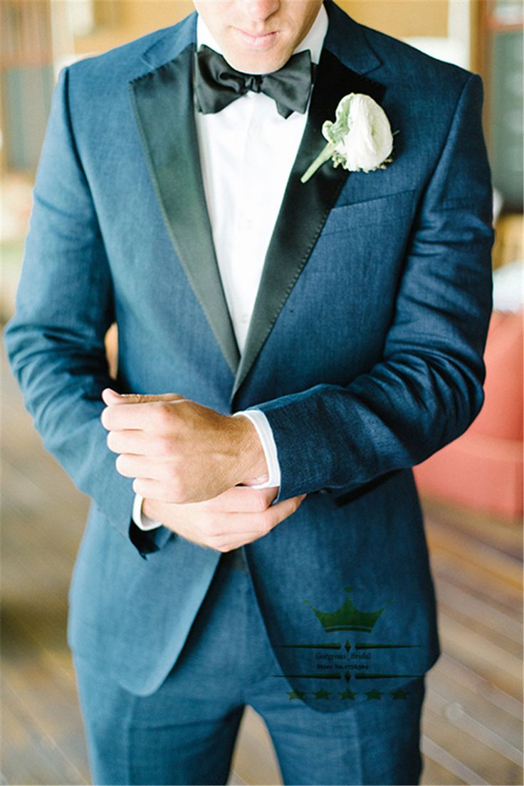 Find More Suits Information about  Peak Lapel Blue One Button Mens Tuxedos Wedding Suit For Men With Pants Designs Custom Made Groom  Jacket+Pants+Tie WY01928,High Quality Suits from Gorgeous_Bridal on Aliexpress.com