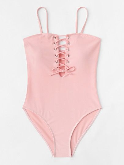 3ff1404d56 Lace Up Swimsuit -SheIn(Sheinside)   New in 2019   Swimsuits, Girls ...