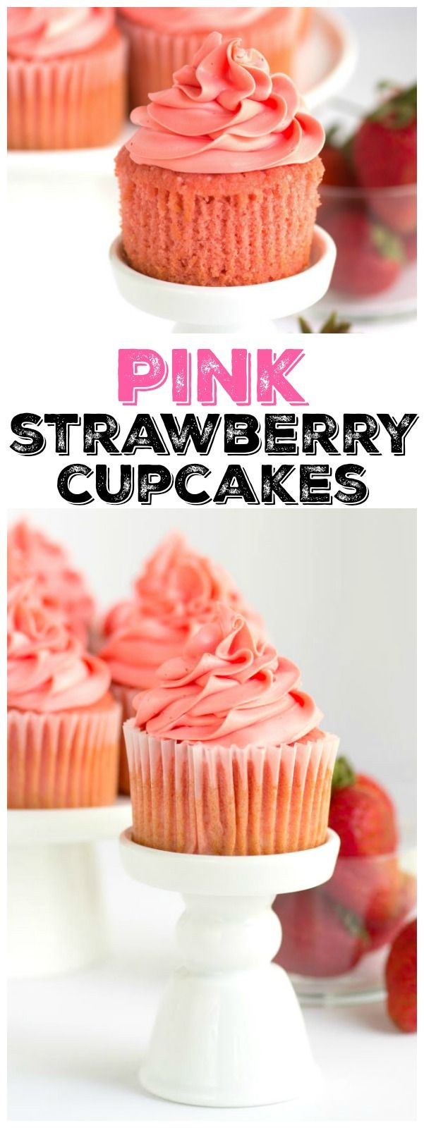 Pink Strawberry Cupcakes recipe topped with the best buttercream EVER.  Be careful:  the cupcake batter tastes like strawberry ice cream!!