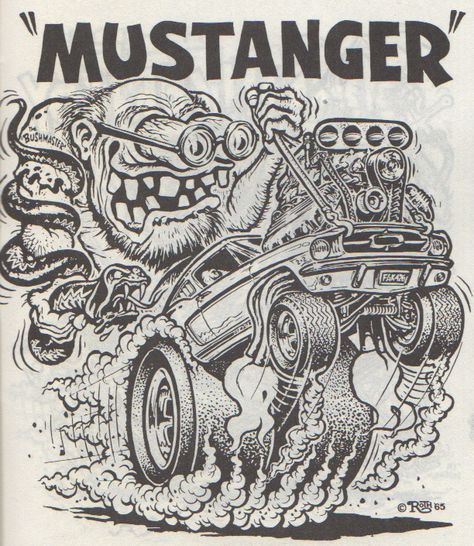 """Mustanger"" by Ed Newton for the Ed ""Big Daddy"" Roth Studios, 1965. Originally published in Big Daddy Roth's Coloring Book circ 1960s. Scanned from Weirdo Number 11, Last Gasp Eco-Funnies, Fall 1984"
