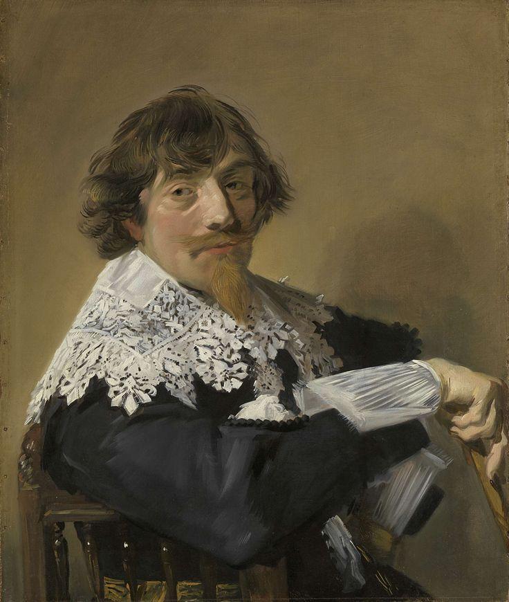 Frans Hals | Portrait of a Man, Frans Hals, c. 1635 | Portret van een man, mogelijk Nicolaes Hasselaer, brouwer, kapitein-majoor van het krijgsvolk binnen Amsterdam. Borstbeeld, zittend op een stoel, een stok in de rechterhand. Pendant van SK-A-1247.
