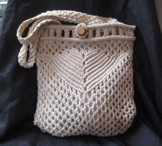 Macrame purse, cotton macrame bag purse, 50s macrame purse                                                                                                                                                     More