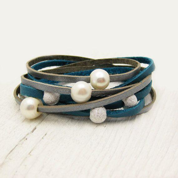 Blue Silver Pearl Leather Wrap Bracelet, Eco Friendly Wrap Bracelet, Boho Wrap Bracelet, Gladiator Wrap Bracelet, Wedding Inspired Wrap. $97.00, via Etsy.