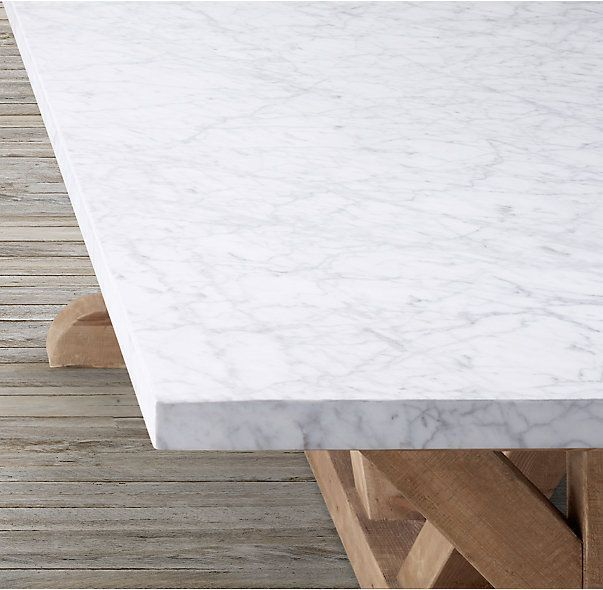 Rh S Salvaged Wood Marble X Base Rectangular Dining Table Our Table Pairs A 2 Thick Marble Top With The Rectangular Dining Table Dining Table Salvaged Wood