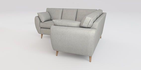 Buy Wilson Corner sofa - left hand (4 seats) Cosy Twill Light Grey Low Retro Tapered - Light from the Next UK online shop