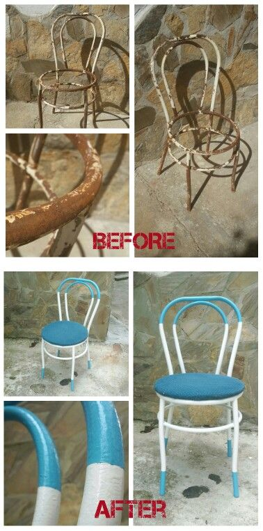 SANDALYE YENİLEME - CHAIRS Eskimiş küflü sandalye zımpara yapılarak küflerinden arındırıldı. Bunun üstüne yağlı boya ile iki tenk olarak boyandı. Boya geçişleri düzgün ve net olması için bant kullanıldı. CHAIR RENOVATION Old, was moldy chair sandpaper. It was painted with oil paint in two colors(blue, white).