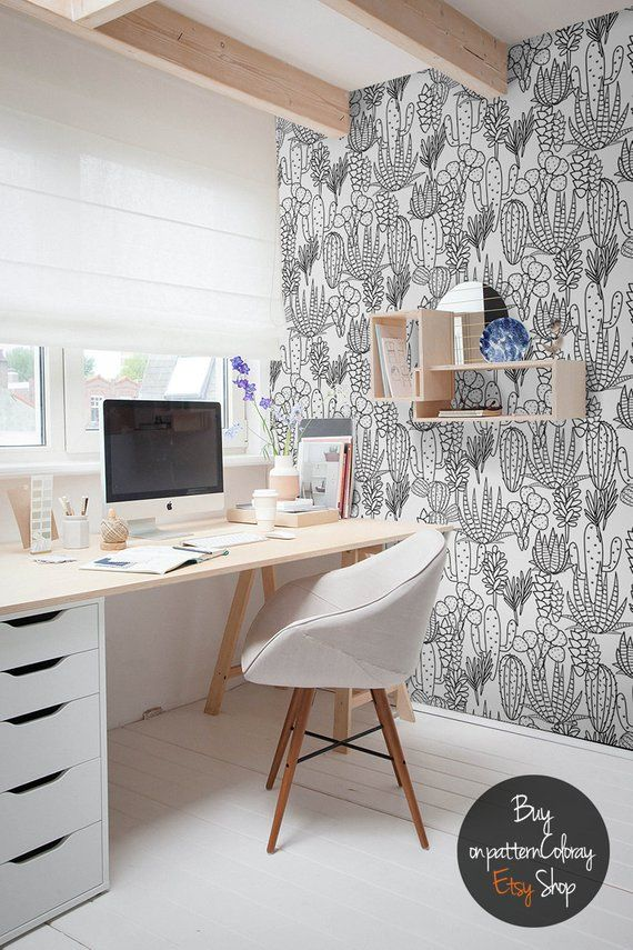 Handdrawn Cactus Pattern Wallpaper Peel And Stick Wall Etsy Home Office Design Home Office Decor Interior