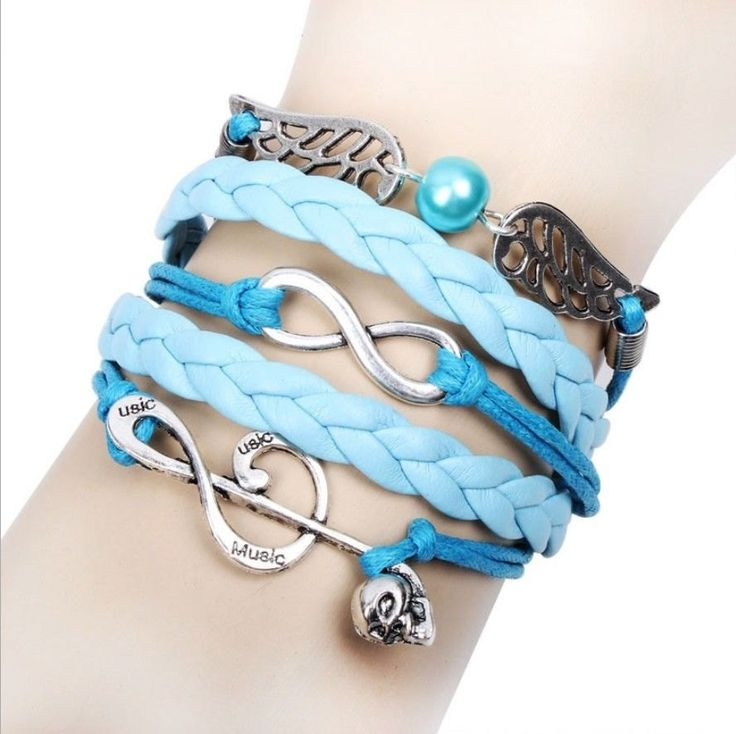 Friendship Bracelet Pearl Wings, Music Note, Skull Charms Sky Blue Leather Silver Charm Bracelet Free Shipping by Chasingdreams97 on Etsy