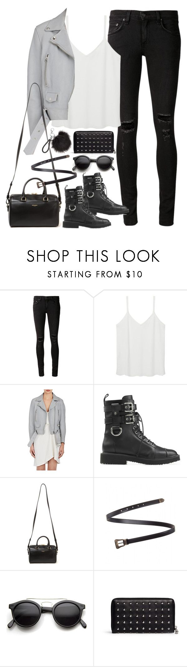 """Untitled#4505"" by fashionnfacts ❤ liked on Polyvore featuring rag & bone/JEAN, MANGO, Acne Studios, Giuseppe Zanotti, Yves Saint Laurent, Retrò and Alexander McQueen"