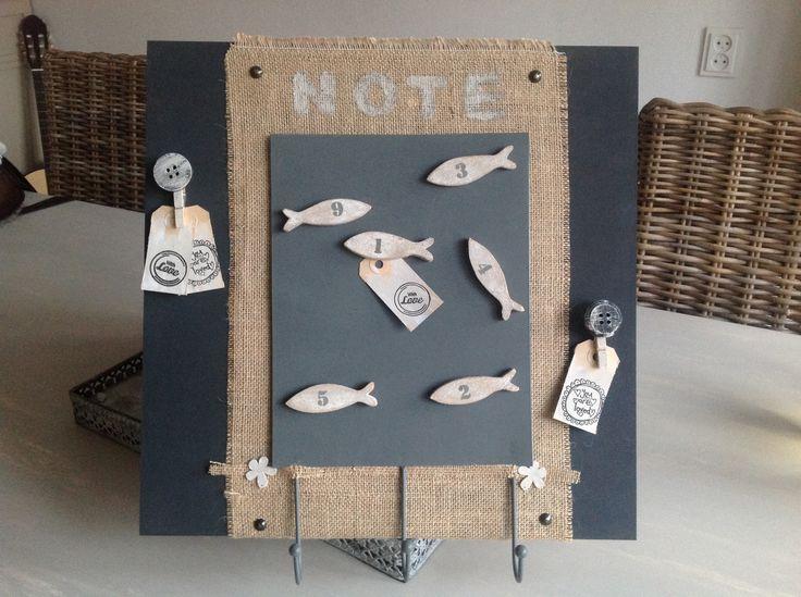Met jute en magneetbord www.wendysheartcollection.nl
