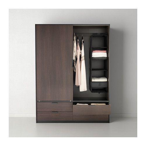 TRYSIL Armario+puerta corredera - marrón oscuro/negro - IKEA