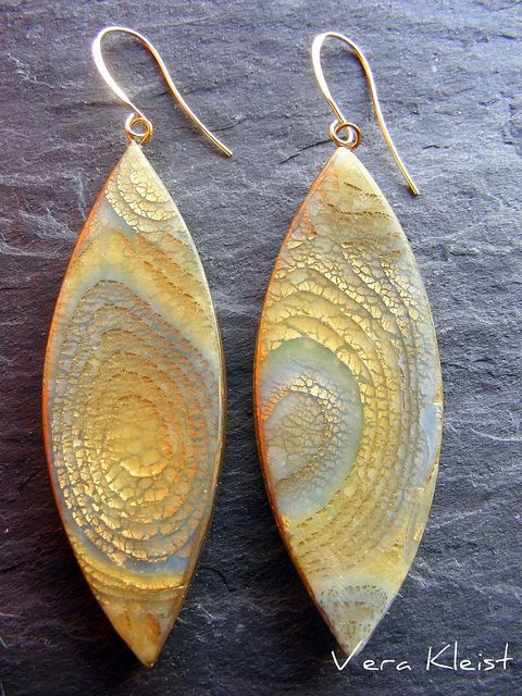 Vera Kleist, Polymer Clay, Fimo, golden ear wires  I prefer pieces with silver leaf. They are more shiny.