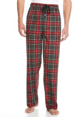 Izod Men's Big & Tall Black/Red Silky Fleece Pants - Oxford - 3Xlt