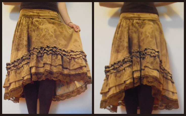 DIY Uneven yellow brown skirt