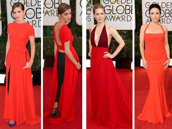 LEKRE I RØDT: Emma Watsons kjole var ganske spesiell, mens Amy Adams og Julie Louis-Dreyfus hadde gått for mer klassiske snitt.