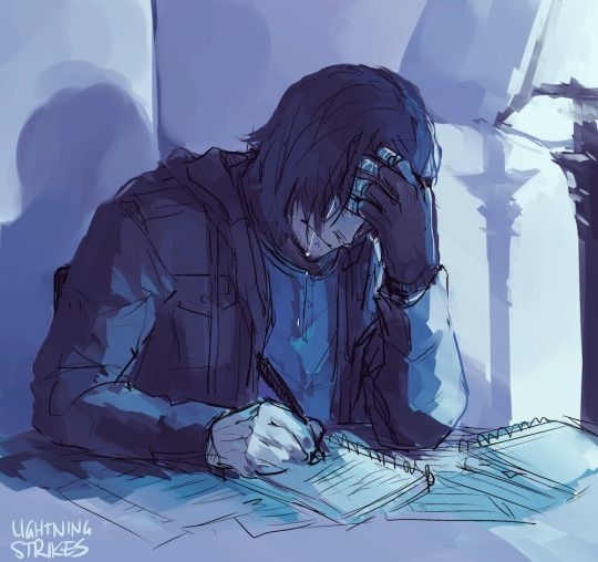 Lightning Strikes<<He is writing down everything he remembers just in case he forgets everything again... Now I will cry