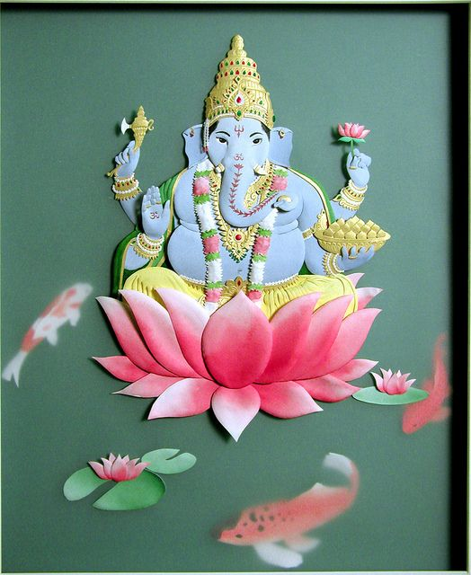 Paper sculpture!! Ganesha by papernoodle, via Flickr