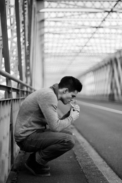 smoking: But, Black And White, Posts, The Bridges, Sweaters Boots, Guys, Heart Boys, Smoke, Photography Inspiration