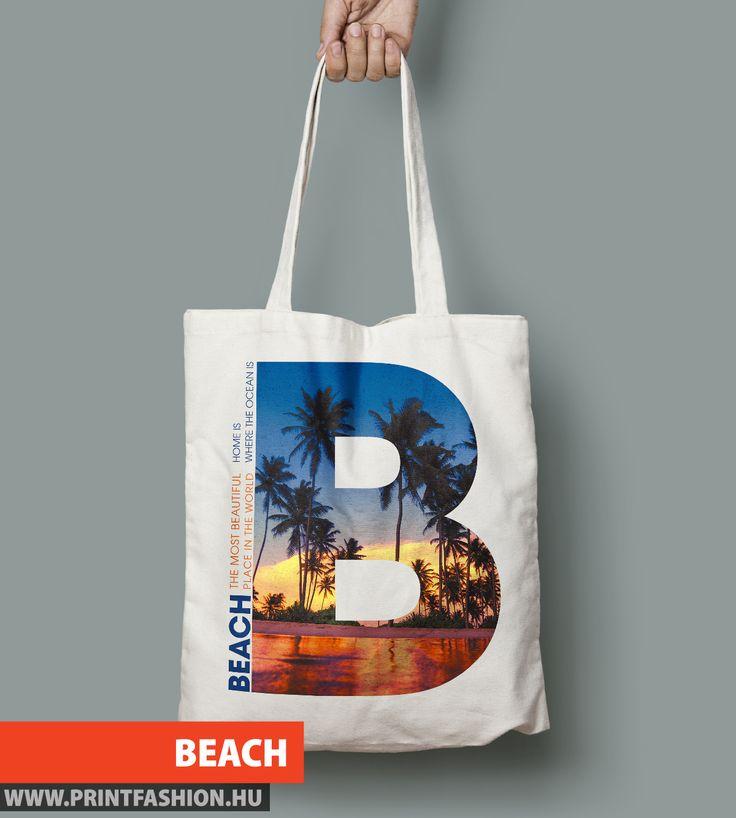 BEACH - Egyedi mintás vászontáska, nyaraláshoz! 8 különböző színben, hosszú vagy rövid fülekkel is kérheted! WEBSHOP: http://printfashion.hu/mintak/reszletek/b-beach/vaszontaska