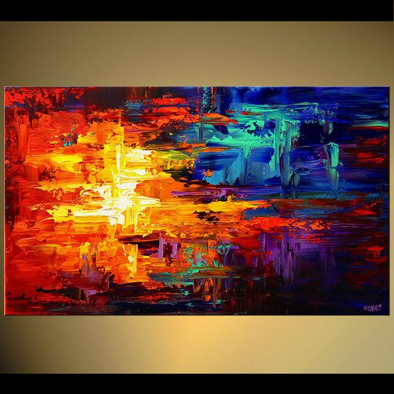 40 Abstract PRINT Colorful STRETCHED & Embellished by OsnatFineArt, $360.00