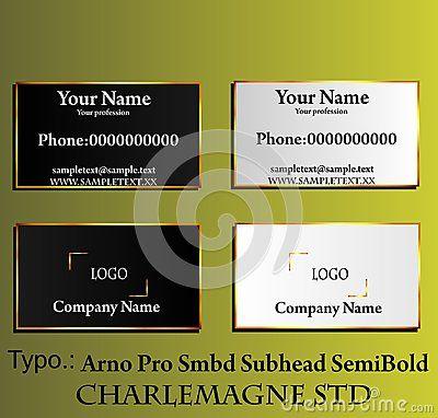 Elegant black and white business card with gold gradient frame. Vector illustration.