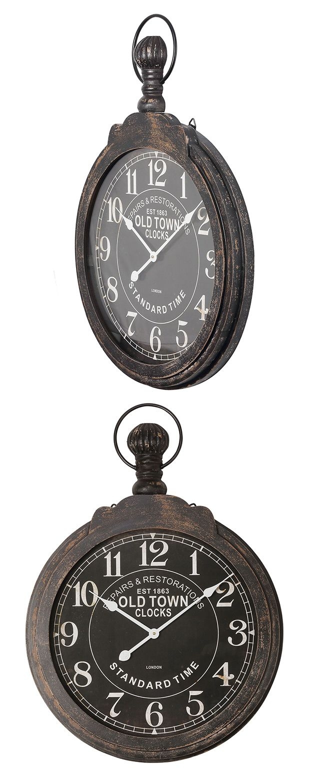 Time is not flexible, but our Restoration Wall Clock is. Made with a weathered iron frame, this unique design features an antiqued black glass lens for eye-catching contrast against clean white font. A...  Find the Restoration Wall Clock, as seen in the The Vintage Globetrotter Collection at http://dotandbo.com/collections/the-vintage-globetrotter?utm_source=pinterest&utm_medium=organic&db_sku=118928