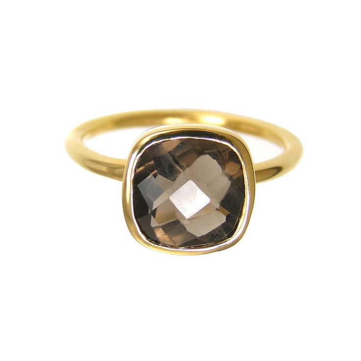 Smoky Quartz Gold ring / DeLuse