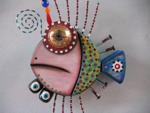 Twisted+Fish+24+Original+Found+Object+Sculpture+by+FigJamStudio,+$65.00
