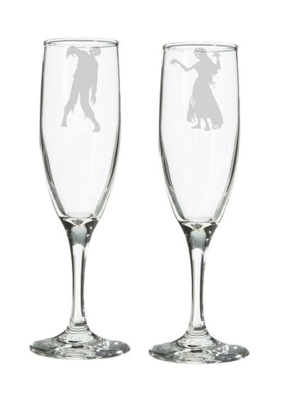 Zombie Wedding Champagne Flute or Toasting Glasses – Geeky Engagement or Bridal Shower Gift