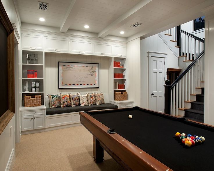 15 Stunning Transitional Basement Design Bookcase Storage Basements And Pool Table
