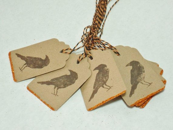 Halloween Crow Tag  Decoration  BOO one doz  by WhateversHandmades, $6.50
