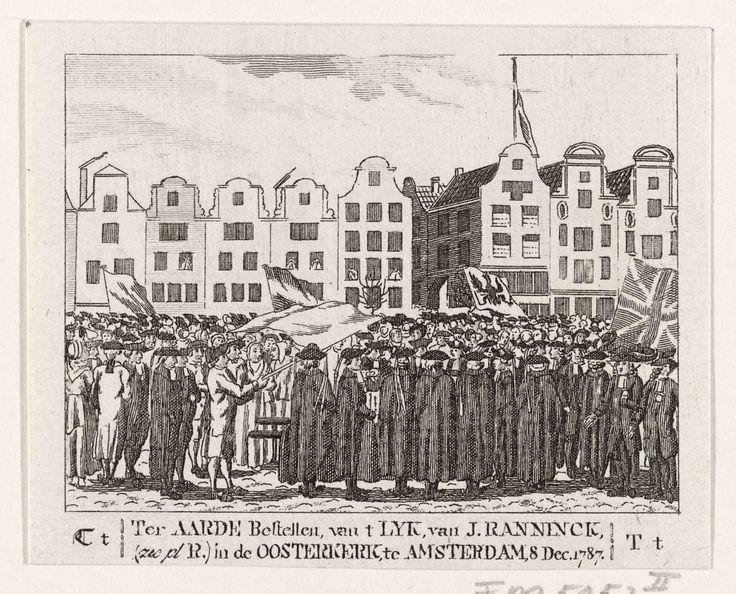 Anonymous | Begrafenis van Johannes Rannink, 1747, Anonymous, 1787 - 1790 | Begrafenis van het lijk van Johannes Rannink, aanvoerder van de bijltjes, de opstandige Oranjegezinde Amsterdamse scheepstimmerlieden die op het eiland Kattenburg in opstand kwamen tegen het patriotse stadsbestuur, en die sneuvelde op 30 mei 1787, op 6 december van de galg gehaald en op 8 december begraven in de Oosterkerk. Plaatje behorend bij de letter T uit een ABC boek.