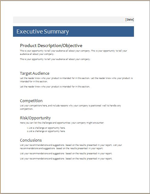 Sample Executive Summaries  BesikEightyCo