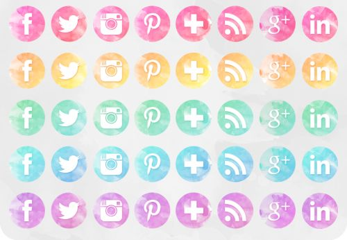 This free of social networking icons includes a watercolour design in pink, yellow, green, blue, and purple colour schemes.