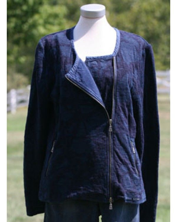 Blue Willi's Cardigan. Muted multi dark indigo and indigo soft 100% cotton yarns, off centre zip and zipped pockets.