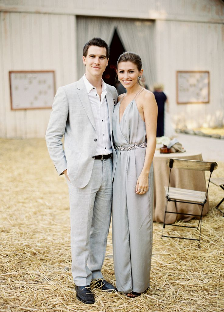 grey wedding guest outfits, grey wedding jumpsuit   Photography: Jose Villa Photography