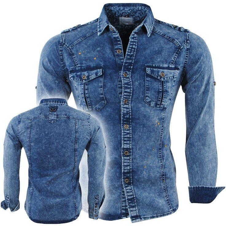 Bravo Jeans - Heren Overhemd - Slim Fit - Stretch - Paint Splash - Borstzakken - Blauw