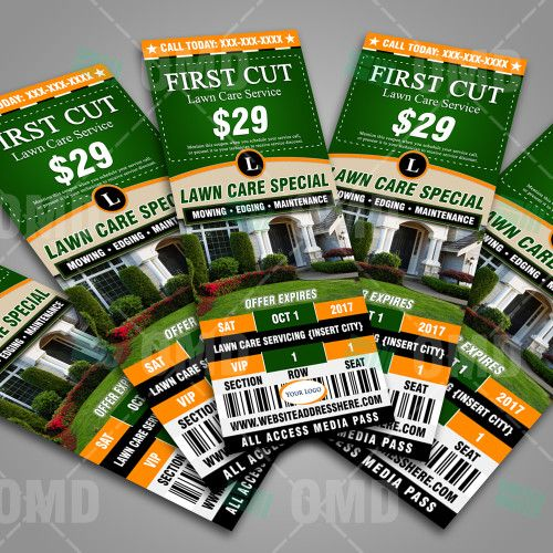Try a NEW way of marketing your Lawn Care Business, with a ticket design. #lawncaremarketing