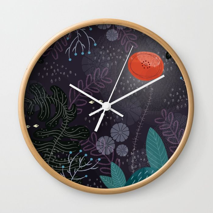 "Valeria Frustaci illustrations - Available in natural wood, black or white frames, our 10"" diameter unique Wall Clocks feature a high-impact plexiglass crystal face and a backside hook for easy hanging. Choose black or white hands to match your wall clock frame and art design choice. Clock sits 1.75"" deep and requires 1 AA battery (not included)."