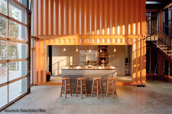 Kitchen pod in 12 Container Home: Adam Lime, Containerhouses, Home Interiors, Garage Doors, Container Home, Architecture, Home Kitchens, Ships Container Houses, Containerhome