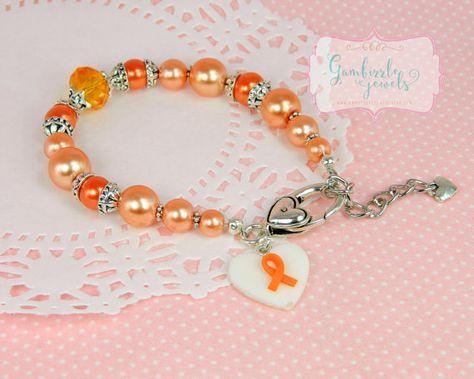 orange awareness ribbon, MS awareness, leukemia awareness, malnutrition awareness, muscular dystrophy, awareness bracelet, awareness charms