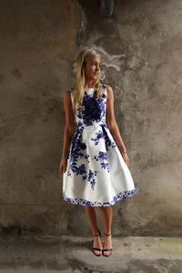 White and Royal Blue Print Dress | Buy Dresses Online Ireland | Dresses for Wedding Guests Ireland | Online Dresses for Occasions