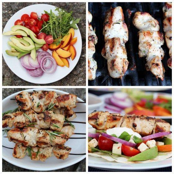 Wraps med kyllingspyd, nektariner, tomater, avokado, løk og yoghurt