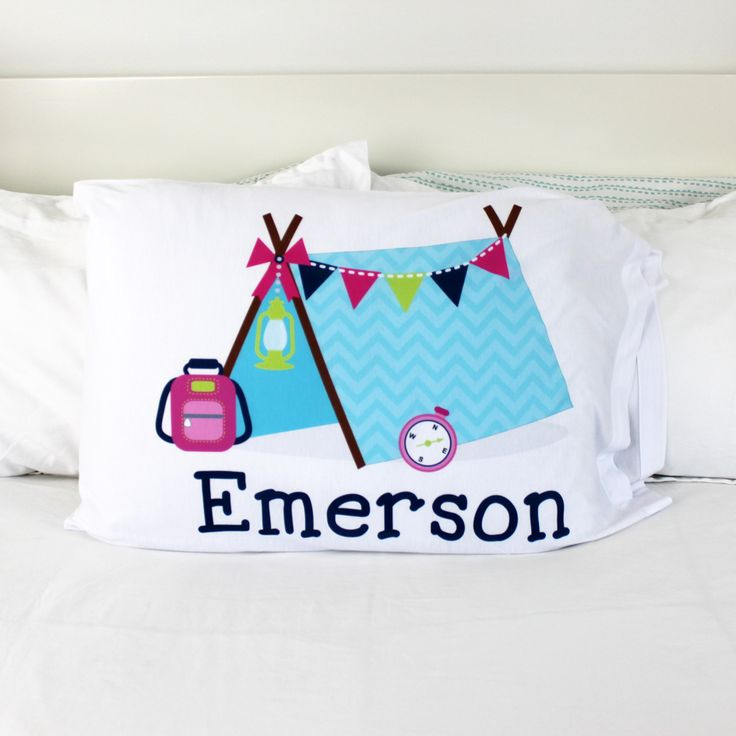 Love this pretty tent-themed pillowcase, personalized just for Emerson. Make your camper happy with a custom printed pillow cover.