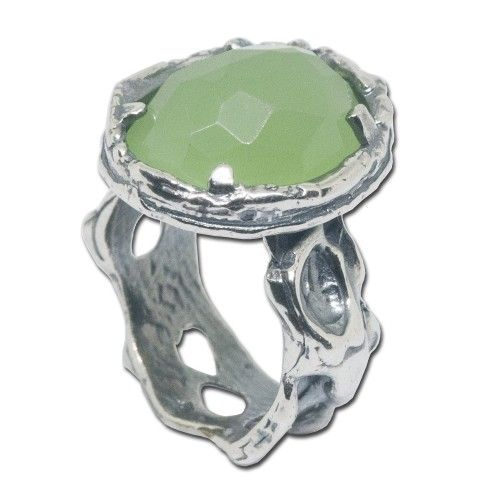 oxidized 925 sterling silver Ring green agate oval gemstone size 6 - 9