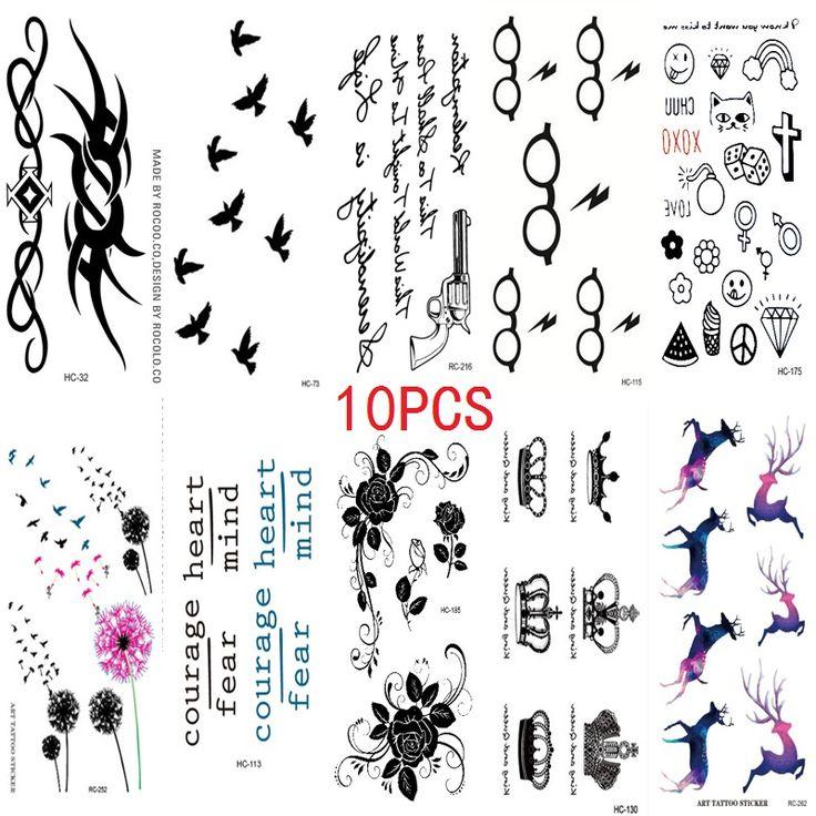 10 STÜCKE Neue Kombination 1 Los Mode Männer Und Frauen Fake Tattoo Vögel Blumen Body Art-Wasserdicht Temporäre Tattoos aufkleber