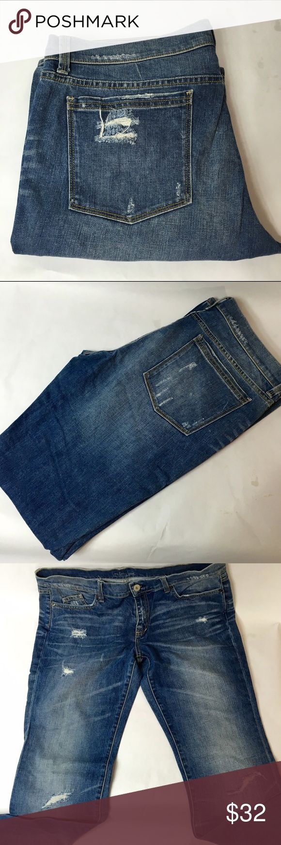 "VS London Jeans London Jeans  From Victorias Secret Online  Size 14  EUC  Cotton/Spandex  Length listed as ""regular""  Fits like a 32/33 length  Factory destruct on front legs, pockets and hem lines london jeans  Jeans Boot Cut"